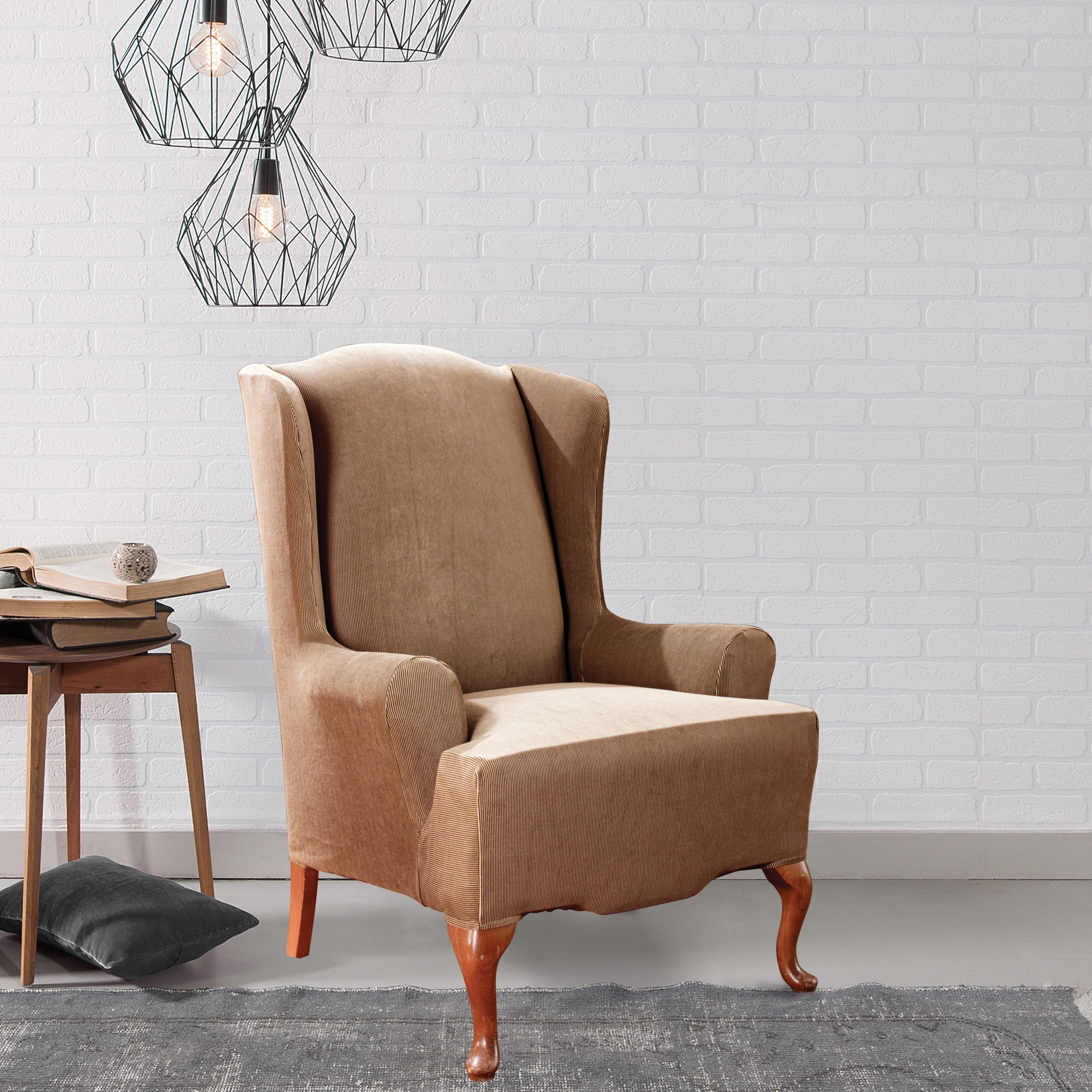 Fabulous Sure Fit Stretch Stripe Wing Chair Slipcover Gmtry Best Dining Table And Chair Ideas Images Gmtryco
