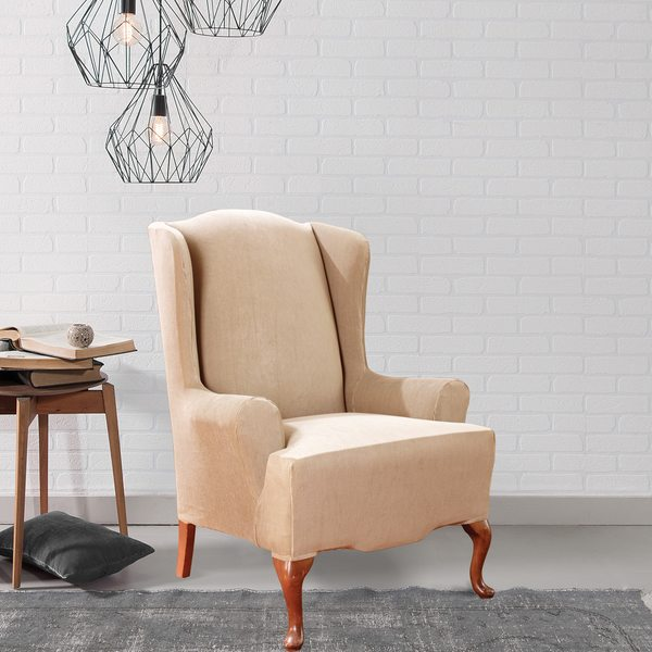 Shop Sure Fit Stretch Stripe Wing Chair Slipcover Free