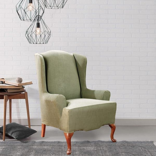 Astonishing Shop Sure Fit Stretch Stripe Wing Chair Slipcover Free Machost Co Dining Chair Design Ideas Machostcouk