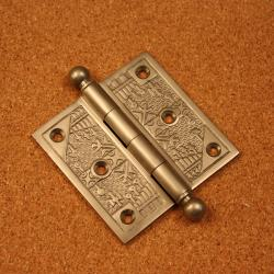 Handcrafted Pewter-Finished Solid Brass Decorative Hinges (Pack of Three)