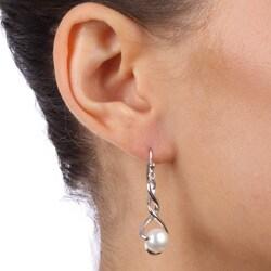 Kabella Sterling Silver White Freshwater Pearl Earrings (8-8.5 mm) - Thumbnail 2