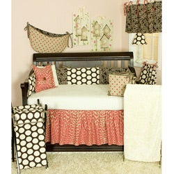 Cotton Tale Raspberry Dot 4-piece Crib Bedding Set