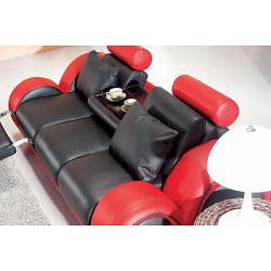 Black/ Red Modern 3-piece Leather Sofa Set