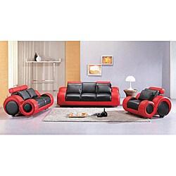 Shop Black Red Modern 3 Piece Leather Sofa Set Free