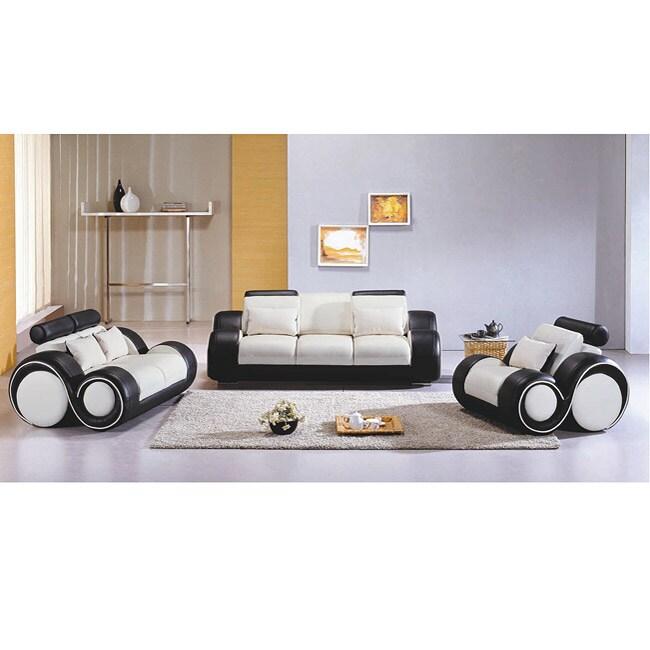 Black white modern 3 piece leather sofa set free for 3 piece black modern sectional sofa