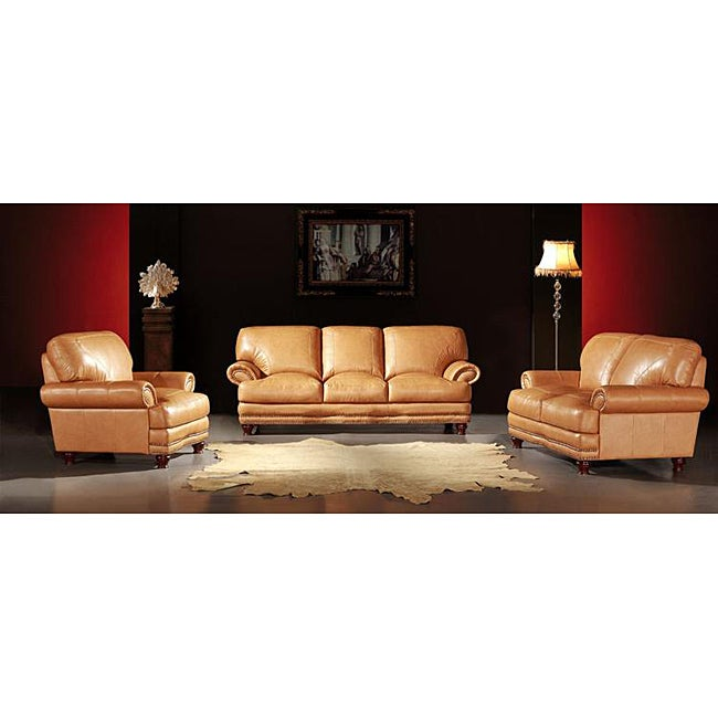Thomas Camel Tan 3 Piece Leather Sofa Set Free Shipping