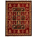 Hand-woven Arya Red Jute/ Wool Rug - 5' x 8'
