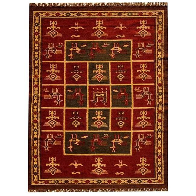 Hand-woven Arya Red Jute/ Wool Rug (6' x 9')