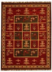 Hand-woven Arya Red Geometric Rug (8' x 11') - Thumbnail 1