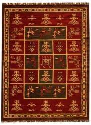 Hand-woven Arya Red Geometric Rug (8' x 11') - Thumbnail 2