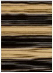 Hand-woven Jute/ Cotton Black Rug (5' x 8')