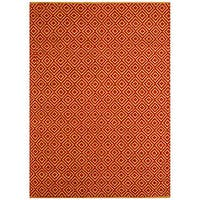 Hand-woven Diamond Red Jute Rug (5' x 8')