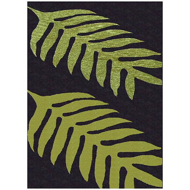 Shop Hand Tufted Green Leaves Wool Rug 5 X 8 Free