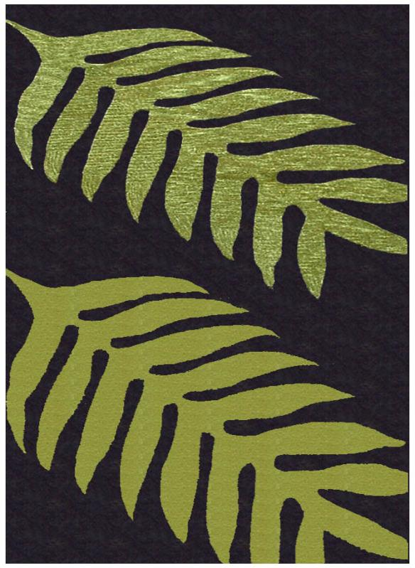 Hand-tufted Green Leaves Wool Rug - 8' x 11'