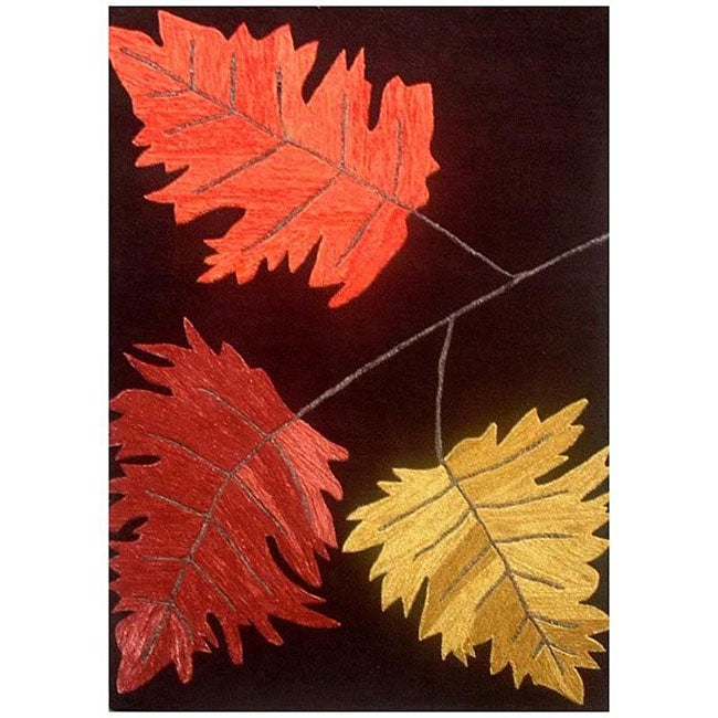 Hand-tufted Oblique Leaves Wool Rug - 8' x 11'