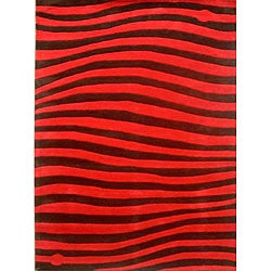 Hand-tufted New Zoom Scarlet Wool Rug (5' x 8')