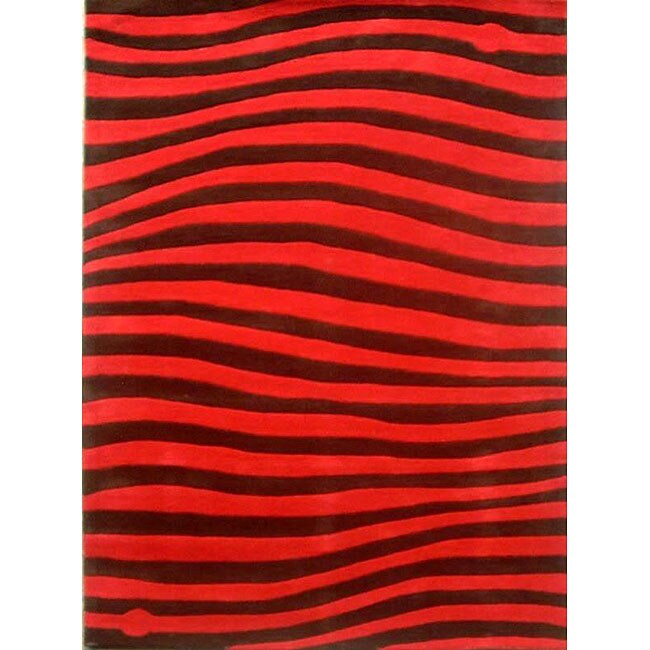 Hand-tufted New Zoom Scarlet Wool Rug - 8' x 11'