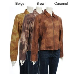Women's Printed Suede Zipper Jacket