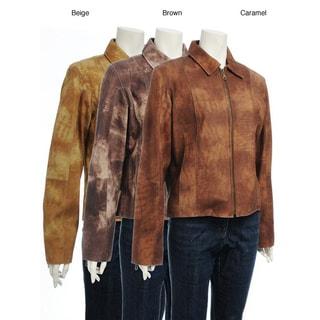 Women's Printed Suede Zipper Jacket
