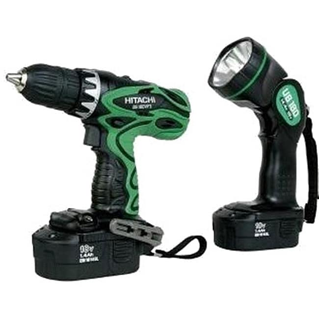 Hitachi DS18DVF3 18v 1/2-in Driver Drill Kit with Flashlight (Reconditioned)