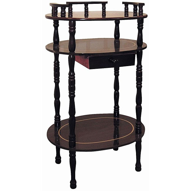 Cherry 3 Tier Wood Phone Table