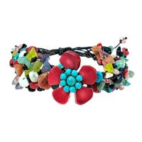 Handmade Boho Flower Multicolor Stones Pull Bracelet (Thailand)