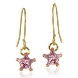 Icz Stonez 10k Yellow Gold Pink Cubic Zirconia Dangle Earrings