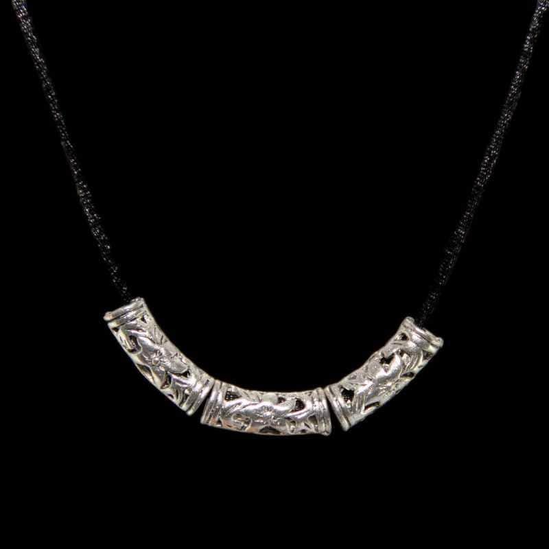 Handmade Tibetan Silver Tube Necklace (China)