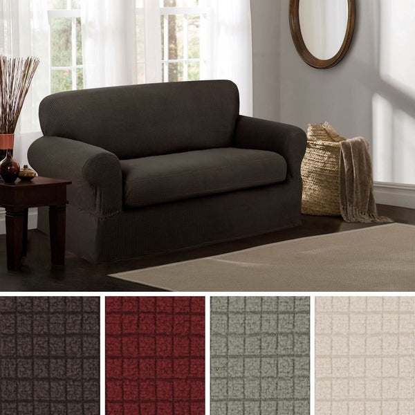 Shop Maytex Reeves Stretch 2 Piece Loveseat Furniture Cover