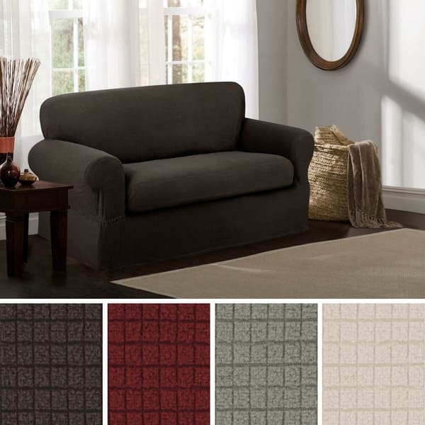 Shop Maytex Reeves Stretch 2 Piece Loveseat Furniture Cover ...