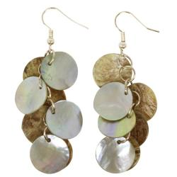 Mother of Pearl Cluster Earrings with Sterling Silver Hook (China) - Thumbnail 1