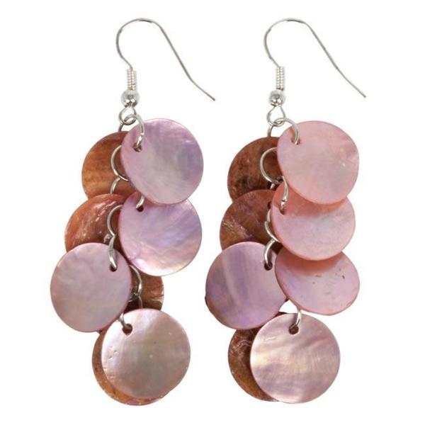 Sterling Silver Pink Mother of Pearl Cluster Earrings (China)