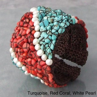 Pearl/ Multistone/ Onyx/ Turquoise/ Coral Mosaic Cuff Bracelet (Thailand)
