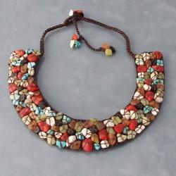 Handmade Mosaic Gemstone Collar Bib Necklace (Thailand)