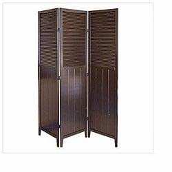 Shutter Door Espresso 3-panel Room Divider