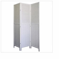 Shutter Door White 3-panel Room Divider