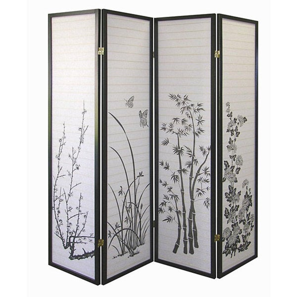 Shop Black Floral 4 panel Screen Room Divider Free Shipping Today