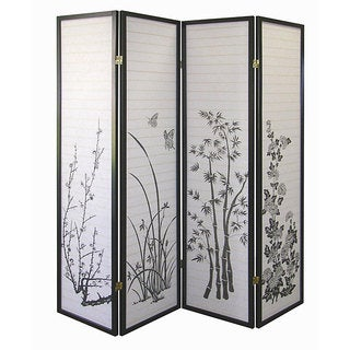 Black Floral 4-panel Screen Room Divider