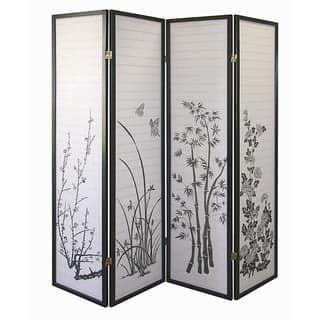 Black Fl 4 Panel Screen Room Divider