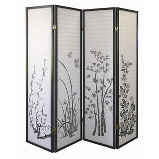 Black Floral 4 Panel Screen Room Divider