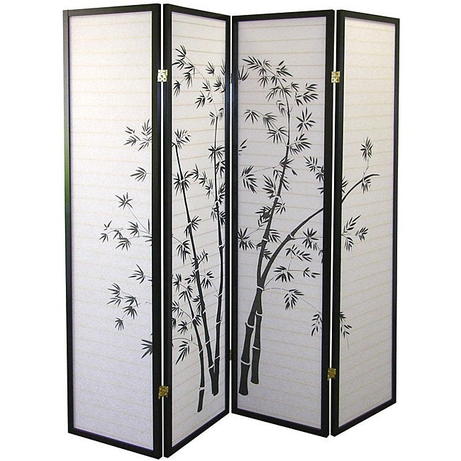 Shop 4 panel Black Bamboo Room Divider On Sale Free Shipping