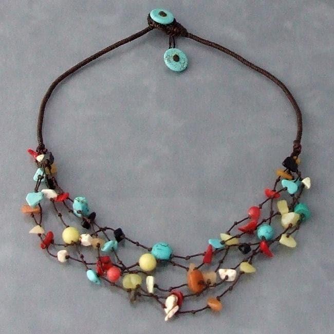 Handmade Multi-gemstone Layers Necklace (Thailand)