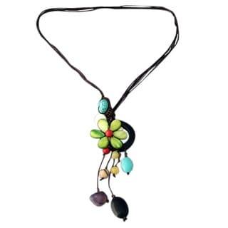 Handmade Drop Cluster Multistone Green Flower Pendant Necklace Thailand