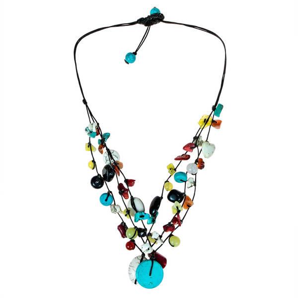Handmade Multi-strand Turquoise/ Onyx/ Quartz Necklace (Thailand)