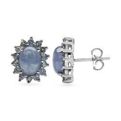 Malaika Sterling Silver Tanzanite Stud Earrings - Thumbnail 1