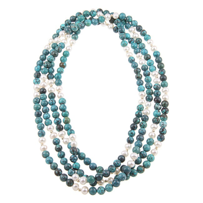 DaVonna White Freshwater Pearl and Turquoise Bead 80-inch Endless Necklace (7-7.5 mm)