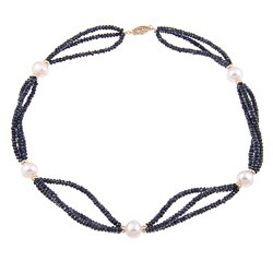 DaVonna 14k Gold 3-row Blue Sapphire and White FW Pearl Necklace (9-10 mm)