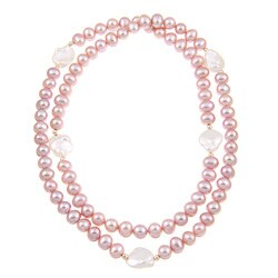 14k Gold Pink and White Freshwater Pearl 28-inch Endless Necklace (11-14 mm)
