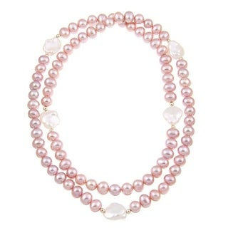 DaVonna 14k Gold Pink and White Freshwater Pearl 28-inch Endless Necklace (11-14 mm)