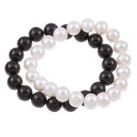 DaVonna White FW Pearl and Black Onyx 2 7-inch Stretch Bracelets (9-10 mm)